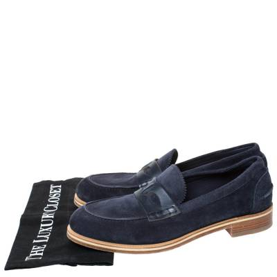 Christian Louboutin Blue Suede Montezumolle Flat Loafers Size 41.5 294642 - 7