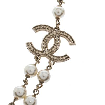 Chanel CC Faux Pearl Bead Gold Tone Long Necklace 292215 - 2