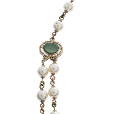 Chanel CC Faux Pearl Bead Gold Tone Long Necklace 292215 - 3