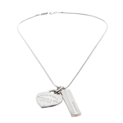 Tiffany & Co. Bar & Heart Tag Silver Dual Pendant Necklace 293736 - 2