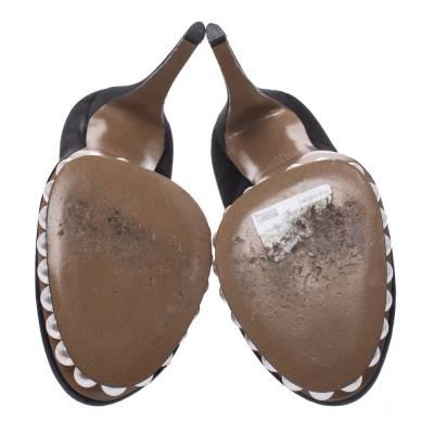 Nicholas Kirkwood Black Satin And Faux Pearl Embellished Platform Pumps Size 38 292001 - 5