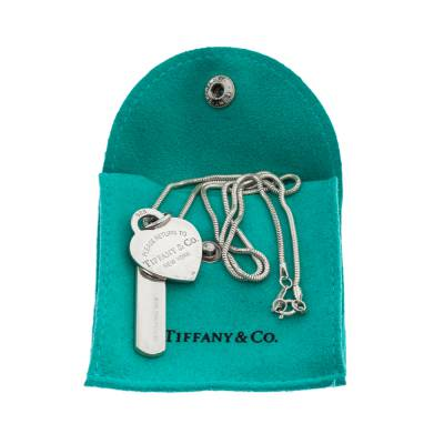 Tiffany & Co. Bar & Heart Tag Silver Dual Pendant Necklace 293736 - 6