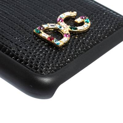 Dolce&Gabbana Black Lizard Embossed Leather Crystal Logo iPhone 7 Cover 291939 - 6