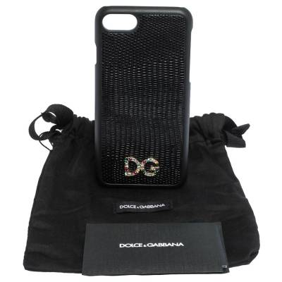 Dolce&Gabbana Black Lizard Embossed Leather Crystal Logo iPhone 7 Cover 291939 - 8