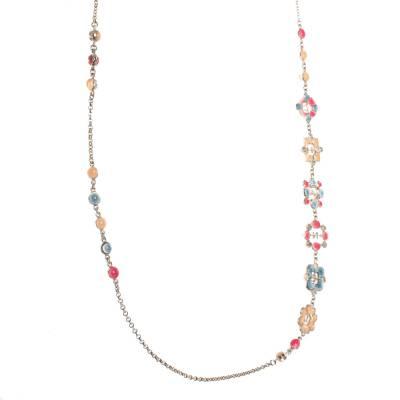 Chanel CC Multicolor Embellished Logo Motif Gold Tone Long Station Necklace 292232 - 3