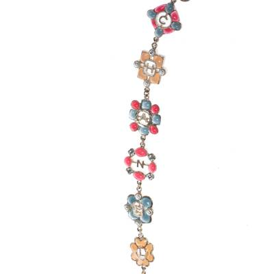 Chanel CC Multicolor Embellished Logo Motif Gold Tone Long Station Necklace 292232 - 4