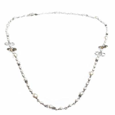 Chanel CC Crystal Enamel Faux Pearl Bead Silver Tone Long Station Necklace 292229 - 2
