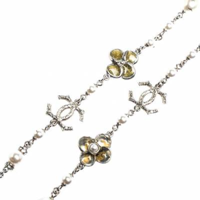 Chanel CC Crystal Enamel Faux Pearl Bead Silver Tone Long Station Necklace 292229 - 3