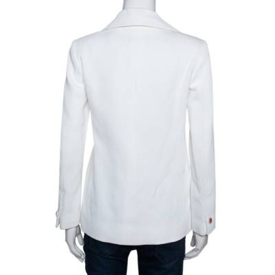 Chanel Off white Ribbed Cotton Button Front Jacket S 292489 - 2