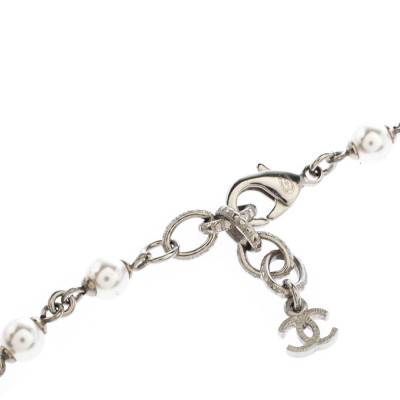 Chanel CC Crystal Enamel Faux Pearl Bead Silver Tone Long Station Necklace 292229 - 4
