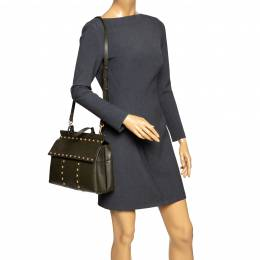 Tory Burch Olive Green Leather Block-T Studded Top Handle Bag 294254