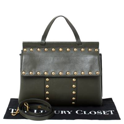 Tory Burch Olive Green Leather Block-T Studded Top Handle Bag 294254 - 9
