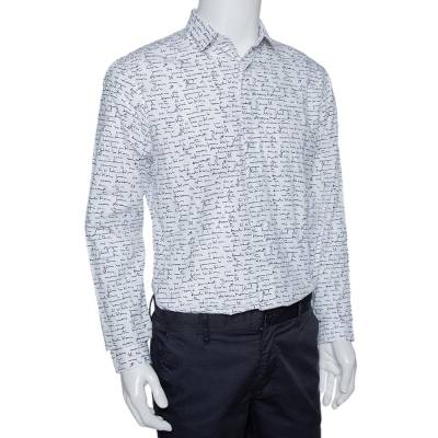 Dior Homme White Handwriting Print Cotton Long Sleeve Shirt M 294253 - 1
