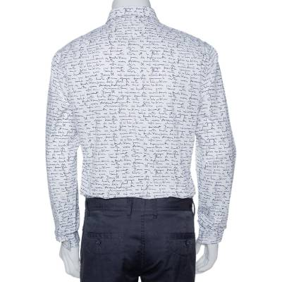 Dior Homme White Handwriting Print Cotton Long Sleeve Shirt M 294253 - 2
