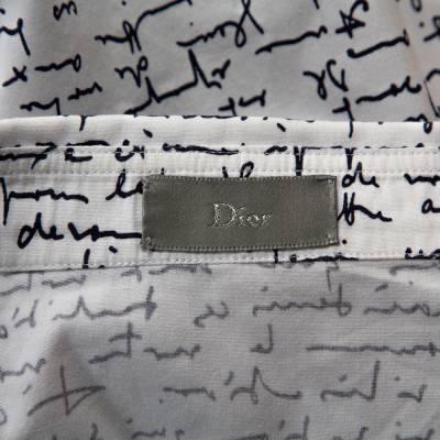 Dior Homme White Handwriting Print Cotton Long Sleeve Shirt M 294253 - 4