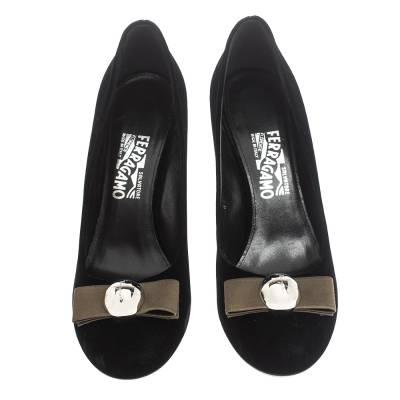Salvatore Ferragamo Black Velvet Fiammetta Plexiglass Heel Pumps Size 41 294416 - 2