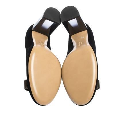 Salvatore Ferragamo Black Velvet Fiammetta Plexiglass Heel Pumps Size 41 294416 - 5