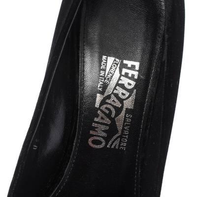 Salvatore Ferragamo Black Velvet Fiammetta Plexiglass Heel Pumps Size 41 294416 - 6