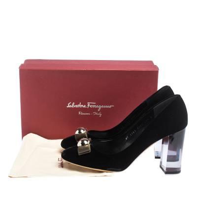 Salvatore Ferragamo Black Velvet Fiammetta Plexiglass Heel Pumps Size 41 294416 - 7