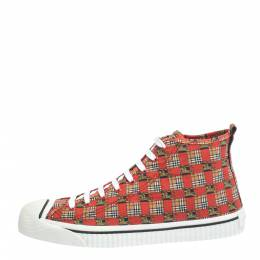Burberry Red Canvas Kingly Print High Top Sneakers Size 45 294414