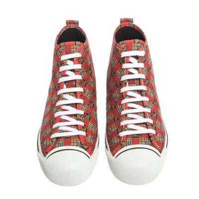 Burberry Red Canvas Kingly Print High Top Sneakers Size 45 294414 - 2