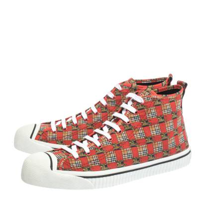 Burberry Red Canvas Kingly Print High Top Sneakers Size 45 294414 - 3