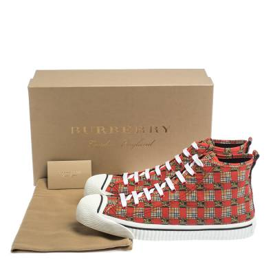 Burberry Red Canvas Kingly Print High Top Sneakers Size 45 294414 - 7