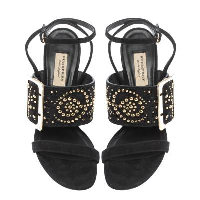 Burberry Black Suede Stud Embellished Padstow Ankle Wrap Sandals Size 40 294415 - 2