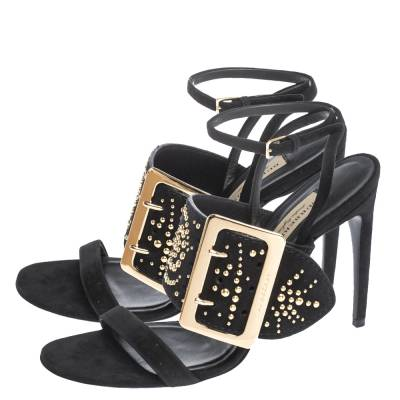 Burberry Black Suede Stud Embellished Padstow Ankle Wrap Sandals Size 40 294415 - 3