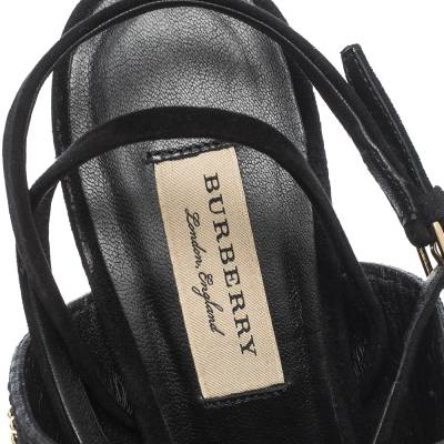 Burberry Black Suede Stud Embellished Padstow Ankle Wrap Sandals Size 40 294415 - 6