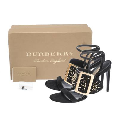 Burberry Black Suede Stud Embellished Padstow Ankle Wrap Sandals Size 40 294415 - 7