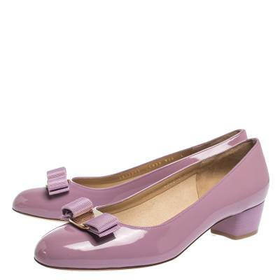 Salvatore Ferragamo Pink Patent Leather Vara Bow Block Heel Pumps Size 40.5 294418 - 3