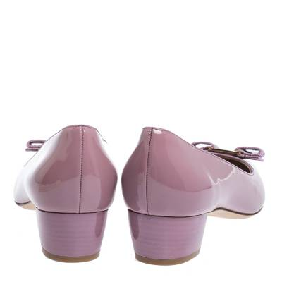 Salvatore Ferragamo Pink Patent Leather Vara Bow Block Heel Pumps Size 40.5 294418 - 4