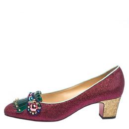 Christian Louboutin Pink/Green Glitter Fabric And Patent Oaxacana Pumps Size 39.5 294633