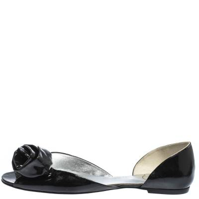 Roger Vivier Black Patent Leather Rose N'Roll Peep Toe Ballet Flat Size 39 294631 - 1