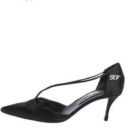 Roger Vivier Black Satin V Strap Pointed Toe Pumps Size 40 294635