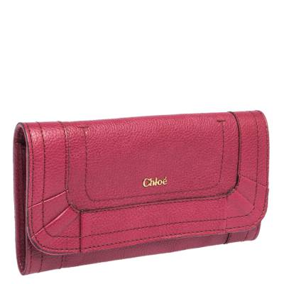 Chloe Magenta Leather Flap Continental Wallet 294746 - 2
