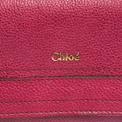 Chloe Magenta Leather Flap Continental Wallet 294746 - 4