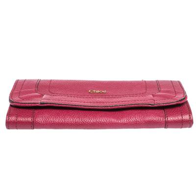Chloe Magenta Leather Flap Continental Wallet 294746 - 5