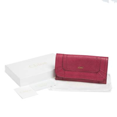 Chloe Magenta Leather Flap Continental Wallet 294746 - 7