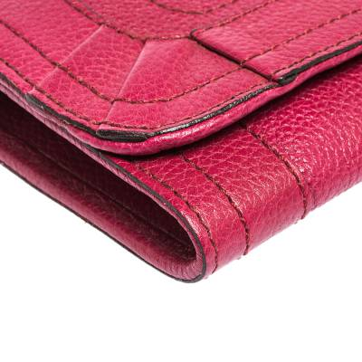Chloe Magenta Leather Flap Continental Wallet 294746 - 8
