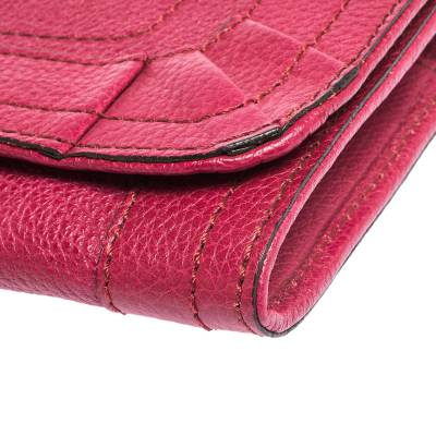 Chloe Magenta Leather Flap Continental Wallet 294746 - 9