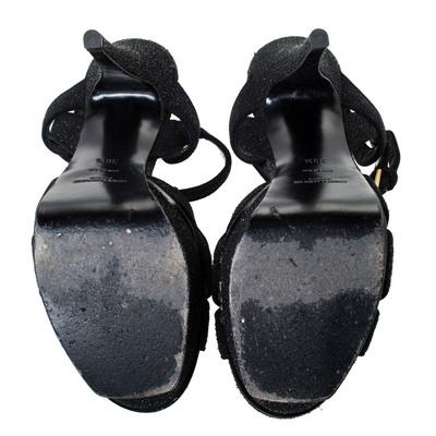 Saint Laurent Black Suede Tribute Platform Ankle Strap Sandals Size 38.5 294747 - 5