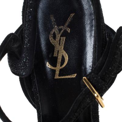 Saint Laurent Black Suede Tribute Platform Ankle Strap Sandals Size 38.5 294747 - 6