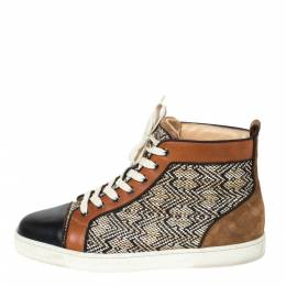 Christian Louboutin Multicolor Woven Raffia And Leather Rantus Orlato High Top Sneakers Size 43 294743