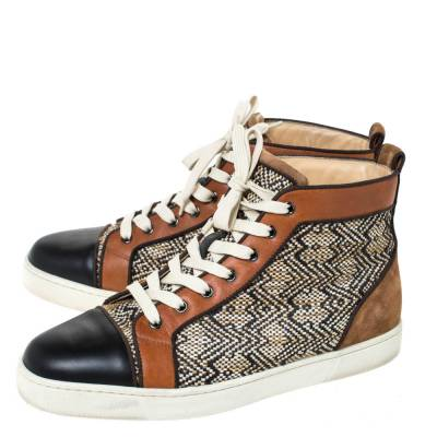 Christian Louboutin Multicolor Woven Raffia And Leather Rantus Orlato High Top Sneakers Size 43 294743 - 3
