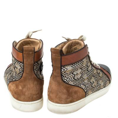 Christian Louboutin Multicolor Woven Raffia And Leather Rantus Orlato High Top Sneakers Size 43 294743 - 4