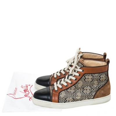 Christian Louboutin Multicolor Woven Raffia And Leather Rantus Orlato High Top Sneakers Size 43 294743 - 9