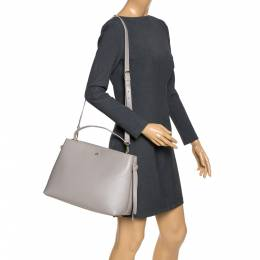 Aigner Grey Leather Top Handle Bag 292769