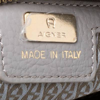 Aigner Grey Leather Top Handle Bag 292769 - 7